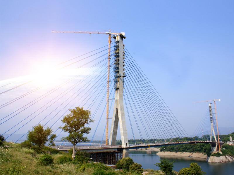 A Cable Stayed Bridge Having 350m central span over  river Ravi at Basohli in J&K