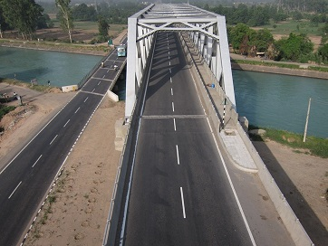 Flyover with 2 lane Steel Truss Bridge at Km. 71, near Kiratpur, Punjab.