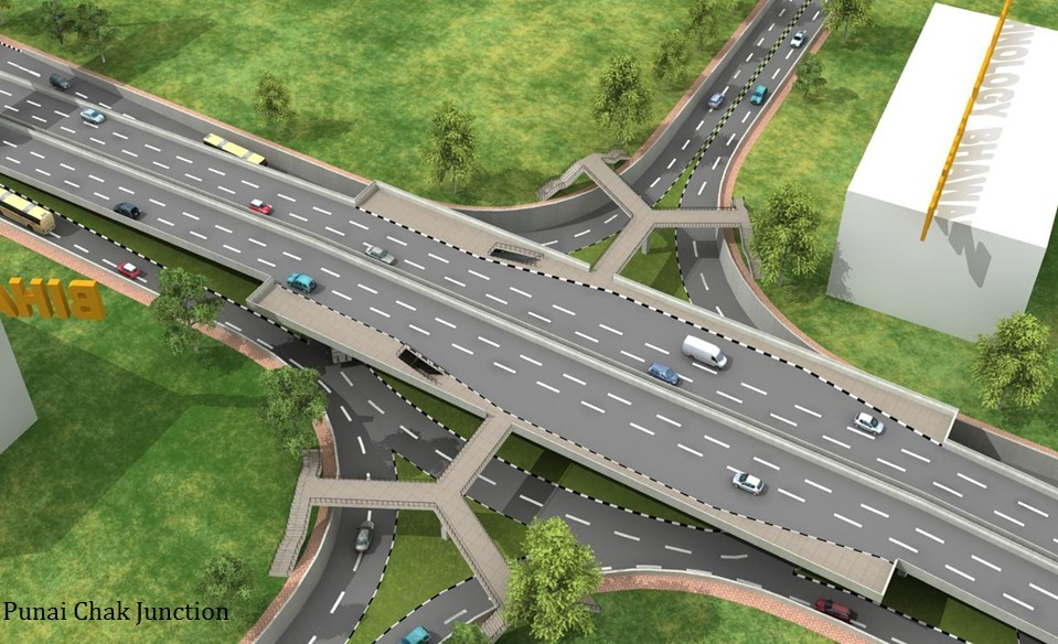 A Swap and Grade-separated U-turn-based Multi-sectional Interchange at Bailey Road between Lalit Bhawan  and Patna High Court in Patna