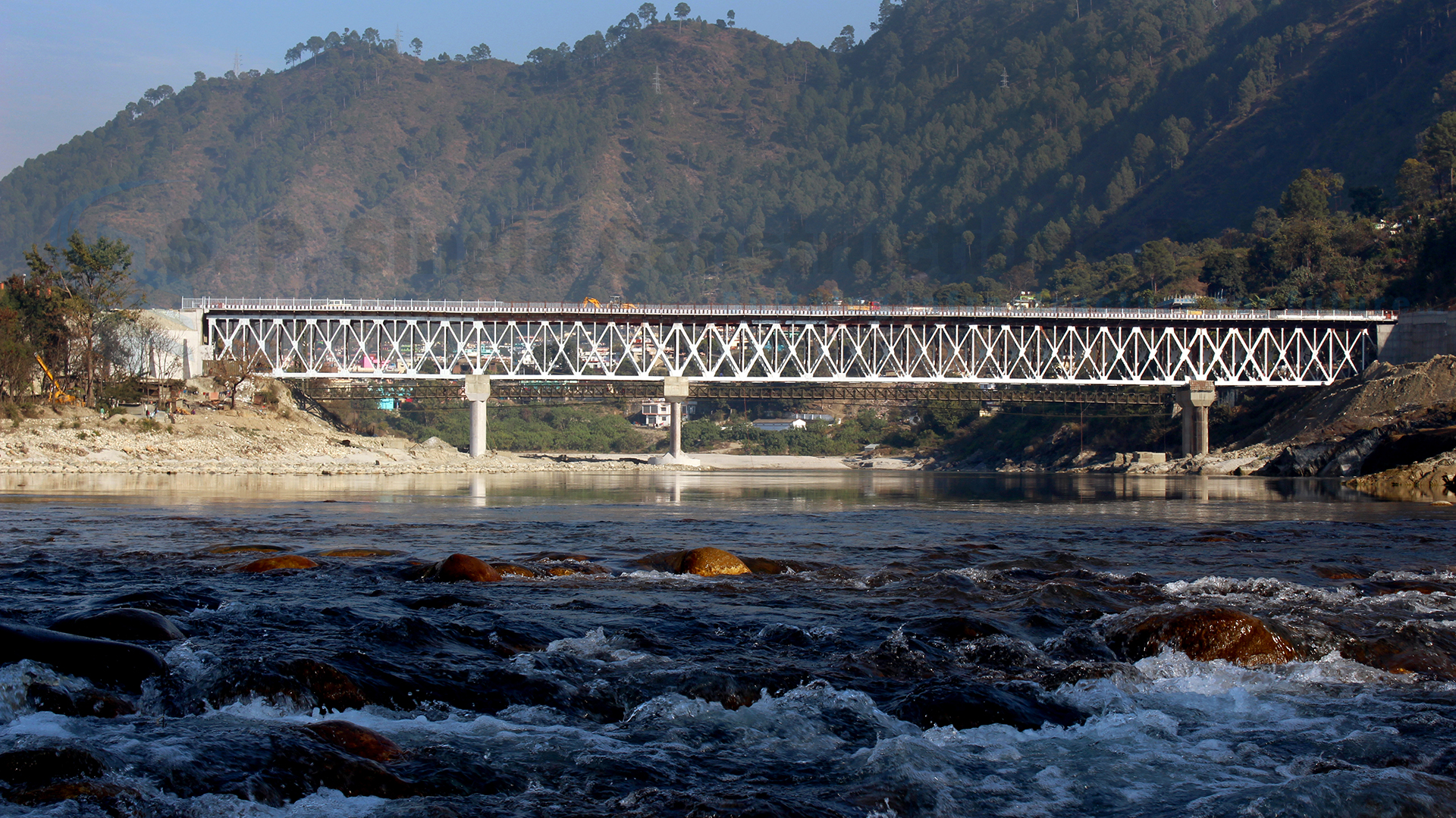 2 lane motor bridge over river Alaknanda in Pauri, Uttarakhand.