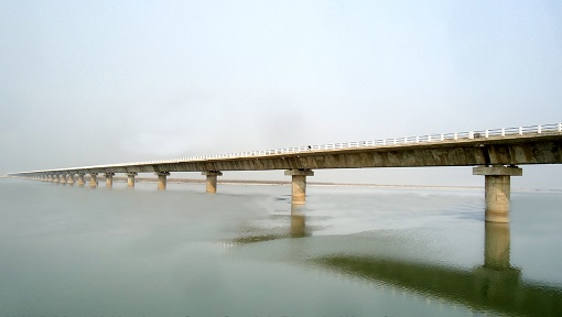 1.84 Km Long High Level Bridge across river Gandak between Dhanha Ghat – Ratwal Ghat in West Champaran, Bihar