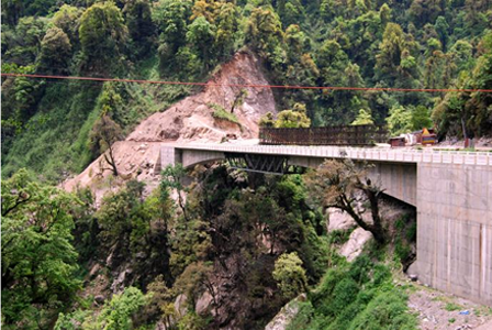 A Bridge over river Teesta in Bansoi on road Chungthang – Lachen in Sikkim.