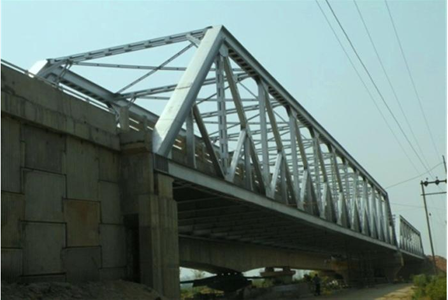 2 lane Steel Truss Bridge on Km. 37.200, near Rangeelpur , Punjab.