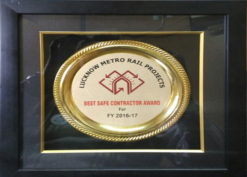 Best contractor award by Lucknow Metro Rail Corporation
