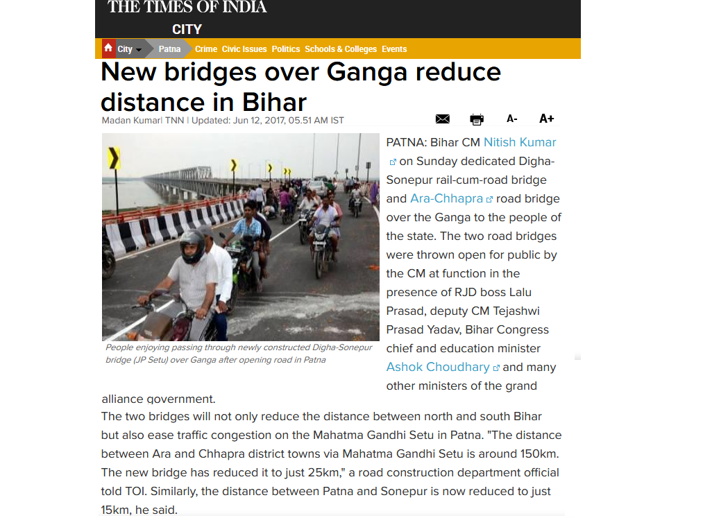 India's longest extradosed bridge between Ara and Chhapra opened for Public.