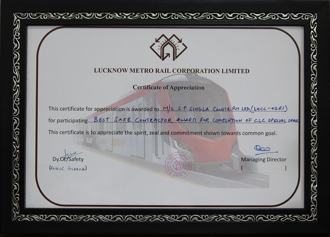 Best contractor award for Safety by Lucknow Metro Rail Corporation