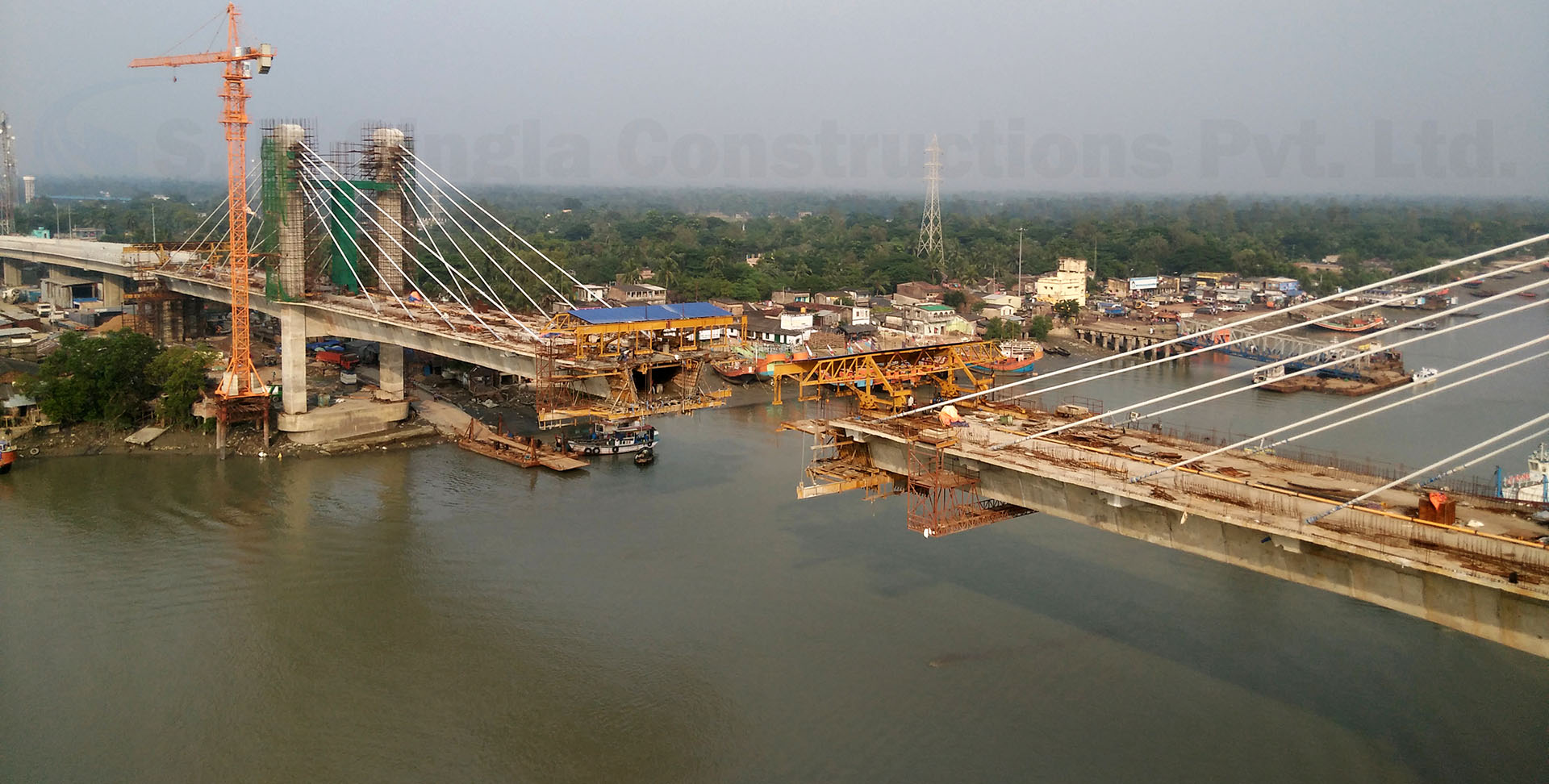 High Level Major Bridge across river Hatania-Doania in West Bengal