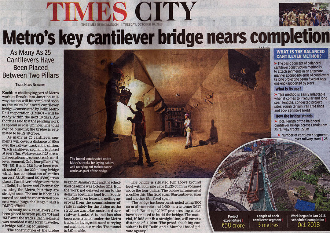 Kochi Metro's Key Cantilever Bridge nears completion- The Times of India, Kochi