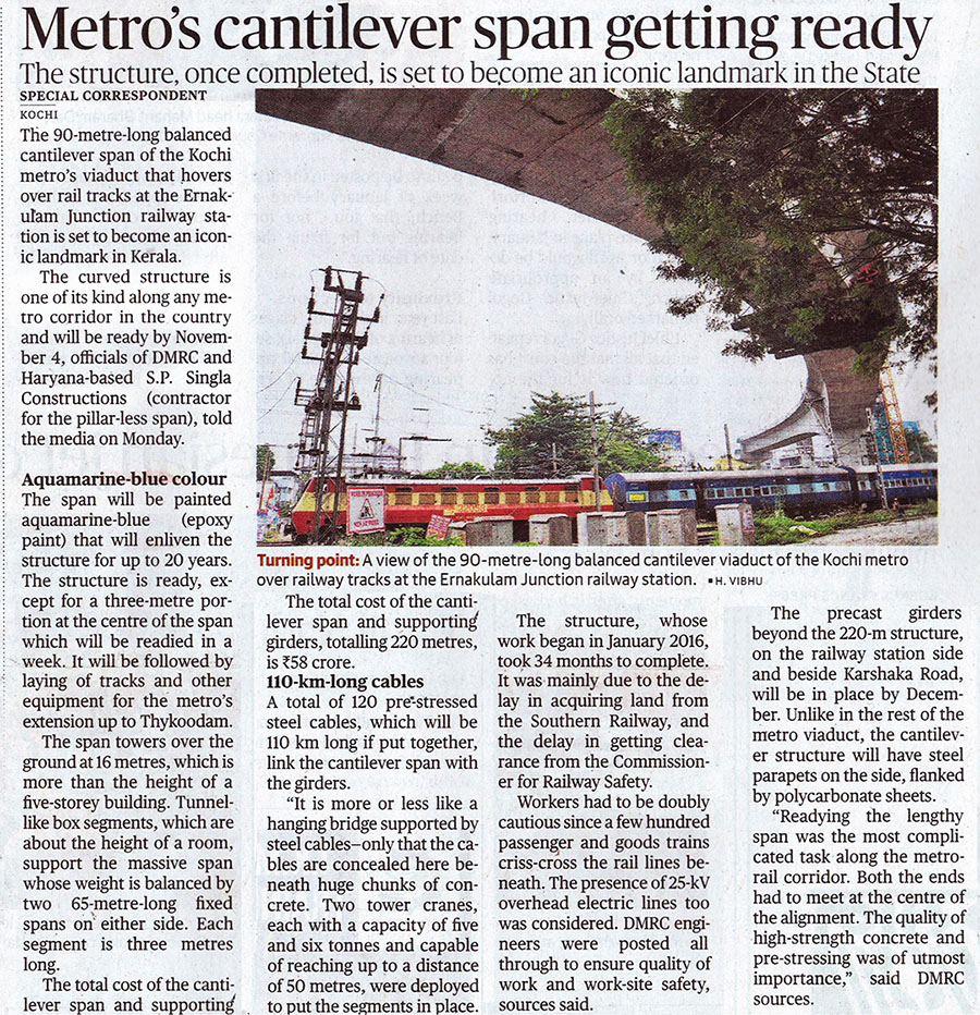 Metro's Cantilever Span Getting Ready - The Hindu