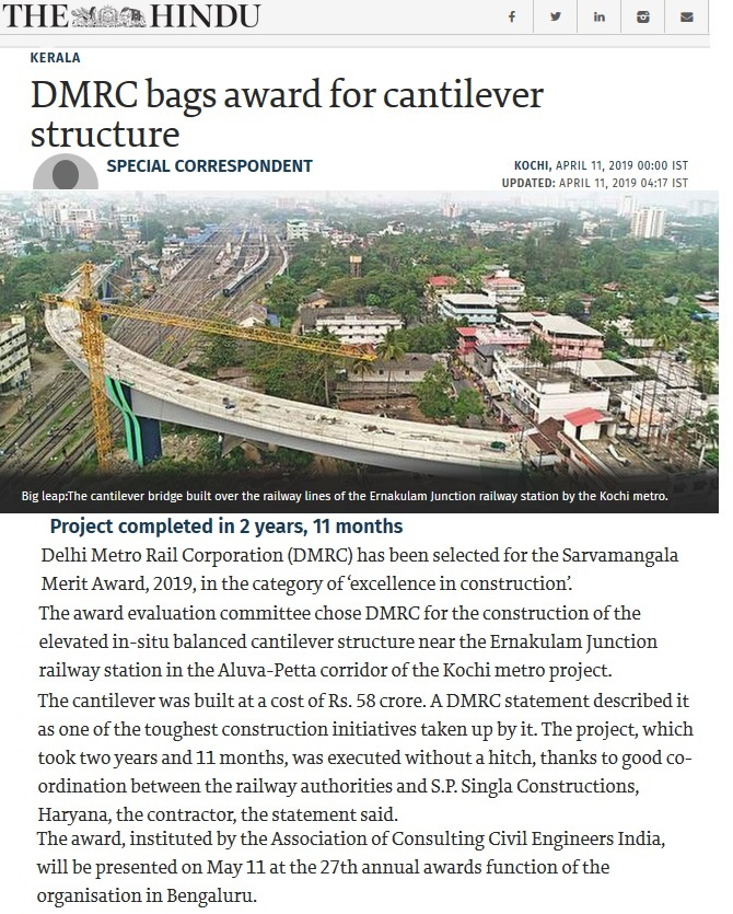 Balanced Cantilever Bridge built for Kochi Metro Rail Network awarded by Association of Consulting Civil Engineers India