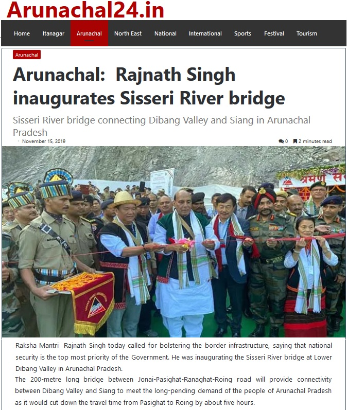 Union Defence Minister Rajnath Singh inaugurating the bridge over Sisseri river in the presence of Arunachal Pradesh CM Pema Khandu and other dignitaries, in Lower Dibang Valley district on 15 Nov 2019.