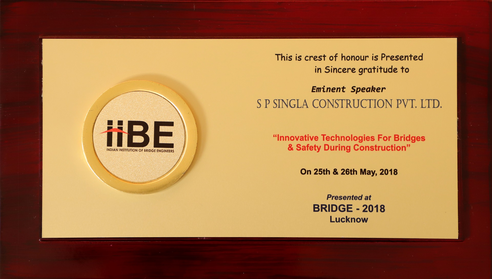 Citation conferred by Indian Institute of Bridge Engineers